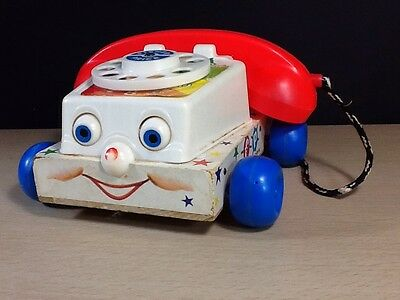 Fisher Price 1961 #747 rotary phone Eyes Move Rings Good Wood Base Push Pull Toy