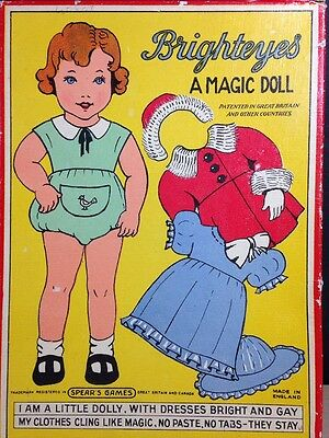Spears RARE Brighteyes Magic Doll Material Felt Paper Doll Antique England