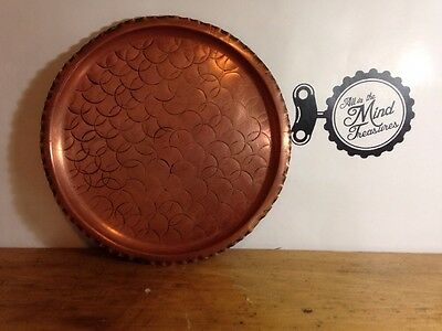 Fantasy Copper ware Canadian Serving Tray Vintage Hand Wrought Decorative