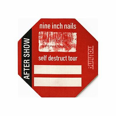 Nine Inch Nails authentic 1994 Self Destruct Tour Backstage Pass after show red