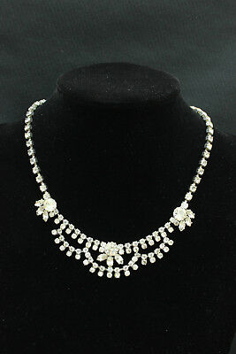 Vintage 1950s DIAMANTE Rhinestone NECKLACE Double Safety Fastening