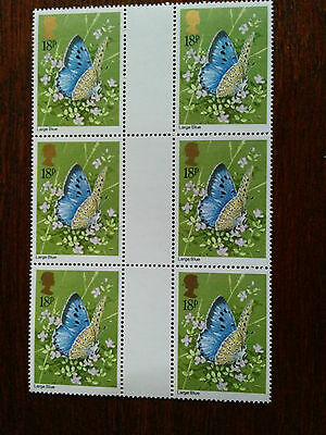 GB mint and unmounted block of 6 x 18p Large Blue stamps - 1981