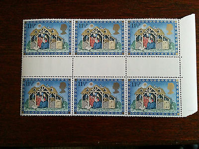 GB mint and unmounted block of 6 Christmas 1979 stamps
