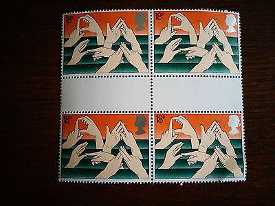 GB stamps 1981 Mint and unmounted block of 4 Hand signing DEAF