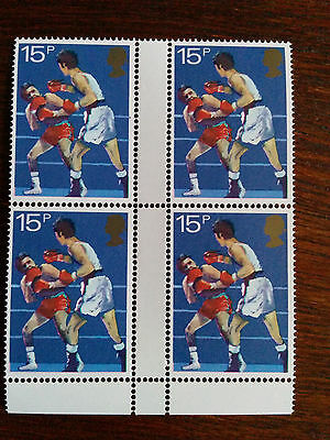 GB mint and unmounted block of 4 Boxing 1983 stamps