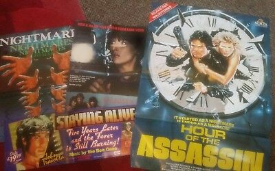 job lot of vintage video shop posters - vhs inc. Pre cert 1980s originals