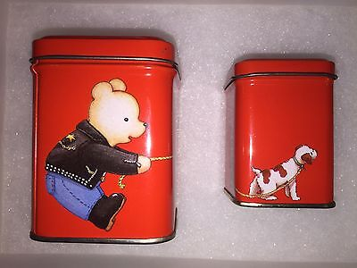 "Hunkydory Vintage Tin ""Walking The Dog"" 2 lot Dana Kubick 1987"
