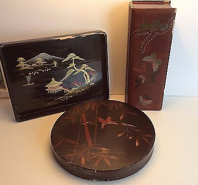 Japanese Lacquered Box Lot Vintage with Round Box
