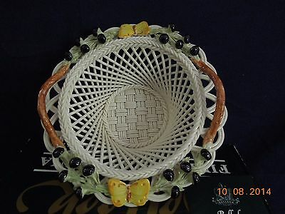 Belleek Autumn Butterfly Basket/White with Berries and Yellow Butterflies