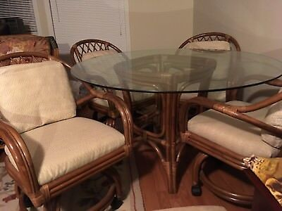 round glass rattan dining table set
