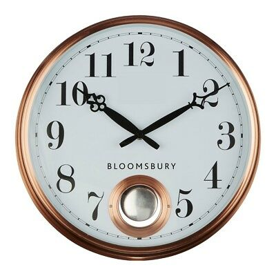 Copper Wall Clock With Pendulum Round Frame Robust Metal Stylish