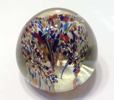 Vintage Murano Paperweight Confetti 3 Flowers 4 Color Blown Art Glass