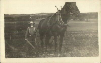 Agriculture Old Farmer Horse Drawn Plow Sowing c1910 Real Photo Postcard rpx