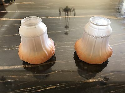 Vintage Retro 1920s Pair Frosted Glass And Colour Light Fixture Shades