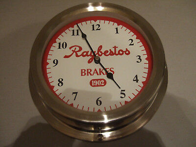 "Raybestos Brakes ""1902"" Silver Tone Clock - Working - Automotive Shop-Garage"