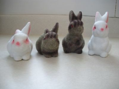 vintage flocked Easter bunnies bunny white and brown w/ red eyes set of 4