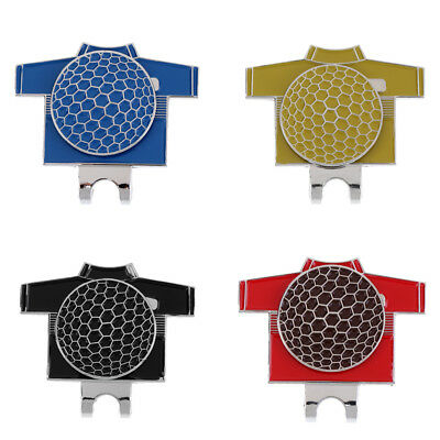 Pack of 4 Mini Alloy Golf T-shirt Pattern Golf Ball Marker and Hat Clip