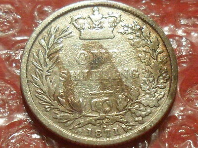 1871 Victoria Young Head shilling.