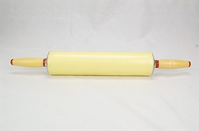 "Vintage Rolling Pin Yellow 1950s-1960s 17.25"" Length"