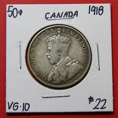 1918 Canada 50 Cent Silver Coin Fifty Half Dollar G180 - $22 VG - 10