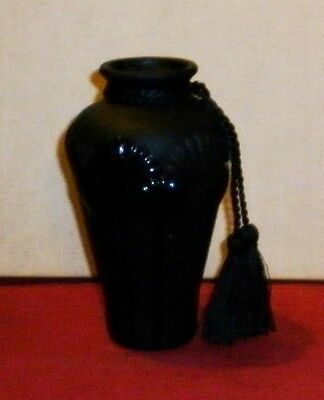 Vintage Frosted  Black Glass  Lotus Flower Motif Vase Great Condition
