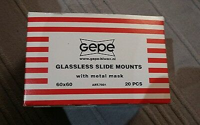 Neuf gepe glassless slide mounts 60×60 20 pieces *