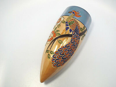 Vtg Hotta Yu Shoten & Co. Pottery Hand Painted Wall Pocket Lusterware Peacock
