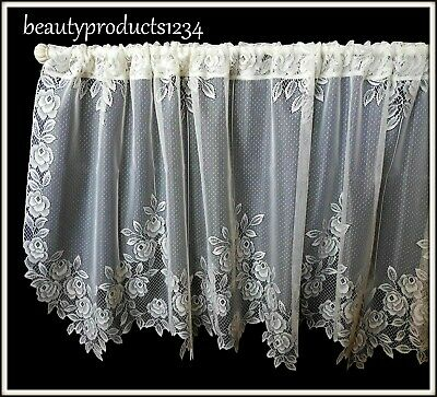 "HERITAGE LACE Ecru TEA ROSE Tier New in Pkg. 60"" x 24"" Made USA LACE~"