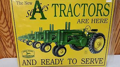 "John Deere A Series Tractor Tin Sign  12.5 "" X 16""  Usa  Sale! Not Made Anymore!"