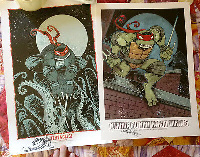 Two Teenage Mutant Ninja Turtles TMNT signed Art Prints by Eric Talbot