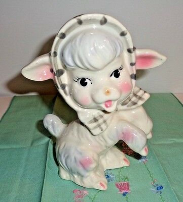 Vintage Girl Easter Lamb with Scarf Planter or Vase Japan Very Nice 6 Inch