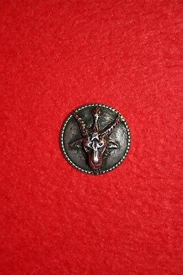 Pair of Pewter Baphomet Buttons - Goat of Mendes Levi Templar Occult Alchemy