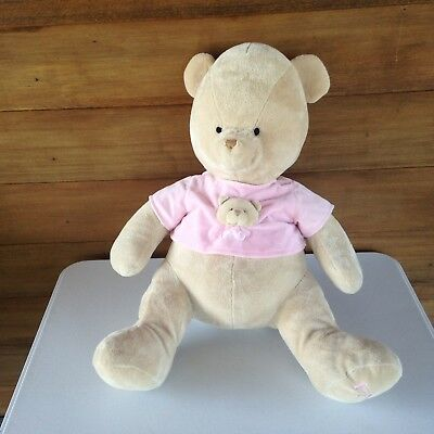 "FAO Schwarz Tan Pink Tshirt My First Teddy Bear Plush 24"" Large Stuffed Animal"