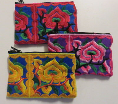 Brightly coloured embroidered coin purse / makeup bag