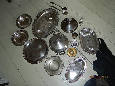 Vintage Silverplate Trays Cake Plate Pie Server Spoons Sheffield Wallace Rogers