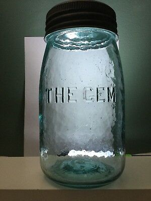 Gorgeous Whittled THE GEM Quart Aqua Antique Canning Jar