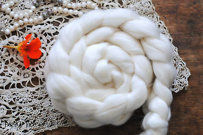 FRENCH ROSE Rambouillet, Pearl, Rose Fiber Blend Undyed Wool Combed Top 4 oz