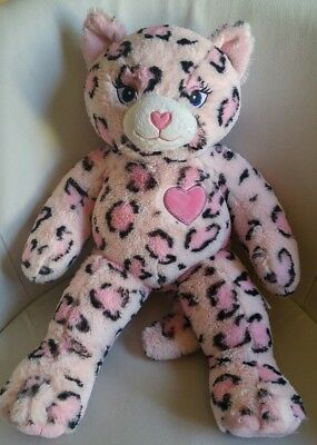 Build a Bear Sassy Pink Leopard Camo Kitty with Pink Heart on Chest Plush