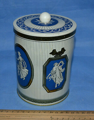 Vtg Tin Caddy Greek Roman Theme