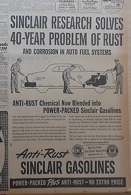 1950 newspaper ad for Sinclair gas - Anti-Rust gasolines solved, 40 yrs research