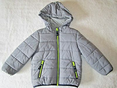 Carter's Gray w/ Lime Detailing Jersey Lined Bubble Puffer Jacket Coat 3T EUC