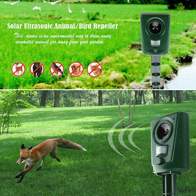 Ultrasonic Solar Battery Powered Animal Bat Bird Repeller Deterrent Repellent