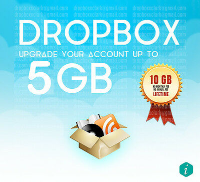 Upgrade your existing Drop Box account by 5GB permanently
