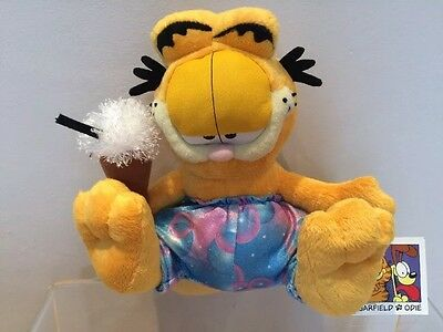 Garfield Plush Holding Ice Cream In Trousers Soft Toy NEW with Tags 23cm