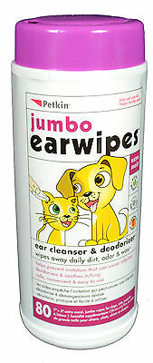 3 for 2 offer Petkin Jumbo Dog Pet Cat Ear Wipes Pack of 80 **buy 2 get 1 free**