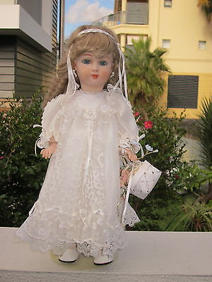 """Hand Made Reproduction Lovely Jumeau Triste Porcelain Doll,14""""wearing Nice Outfi"""