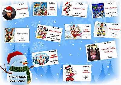 21 or 16 PERSONALISED xmas CHRISTMAS gift labels stickers tags present bag (7)