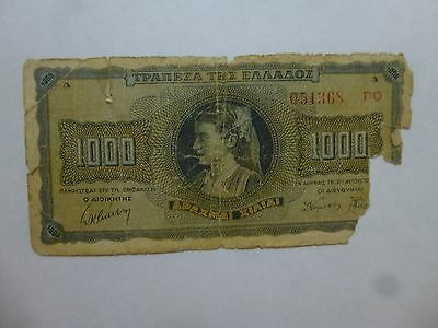 Old Greece Paper Money Currency - #118 1942 1000 Drachmai - Well Circ piece msg.