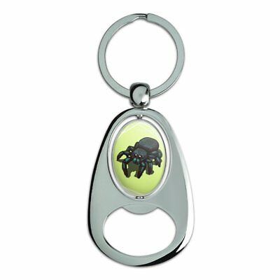 Cute Spider Chrome Plated Metal Spinning Oval Design Bottle Opener Keychain