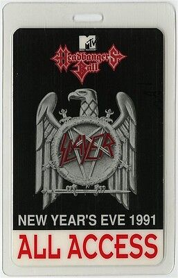 Slayer authentic 1991 Laminated Backstage Pass Headbangers Ball New Year's Eve